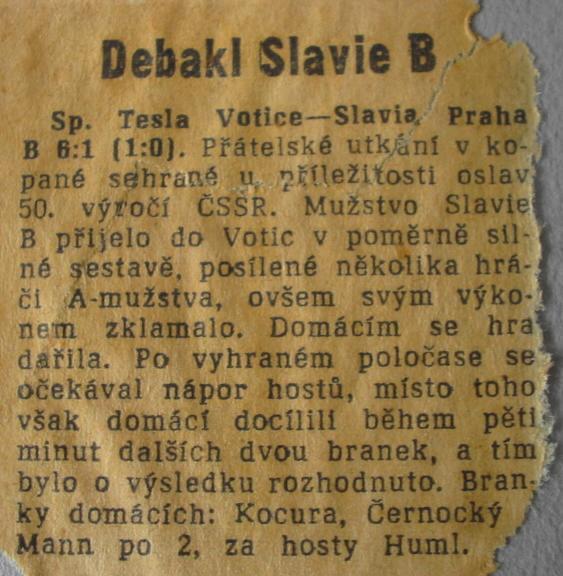 Votice 1968 - zpráva z novin