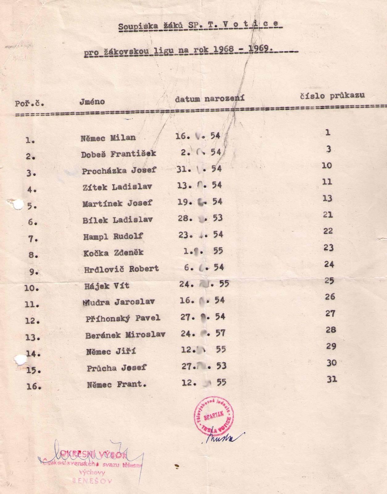 soupiska žáci 1969
